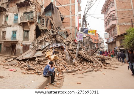 April 26, 2015 Ruins in Kathmandu city after earthquake in Nepal - stock photo