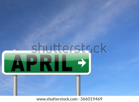 april spring month event calendar, roas sign billboard.   - stock photo