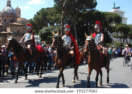 April 21, 2014, The Birth of Rome, is a secular festivities linked to the founding of the city of Rome, celebrated with a parade with costumed characters on Via dei Fori - Rome - Italy