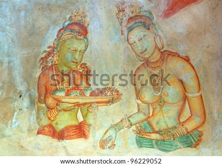 Apsara Celestial Nymphs Ancient Painting On Stock Photo (Royalty ...