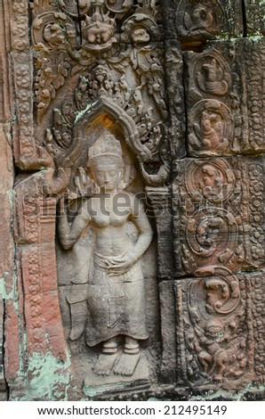 Apsara sculpture at Phear Khan temple, Angkor Wat
