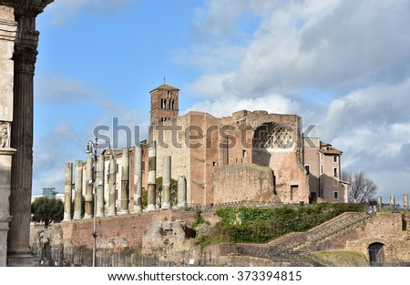 Apse and columns from the ancient Temple of Venus and Roma, in the center of Rome - stock photo