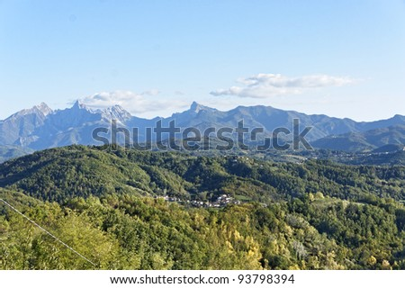 apuan alps - stock photo