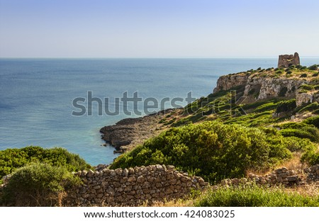 APULIA LANDSCAPE.Natural Park of Porto Selvaggio : Uluzzo watchtower.(Salento) Italy.. Bay Uluzzo is a small natural gulf located within the protected area known as Porto Selvaggio. - stock photo