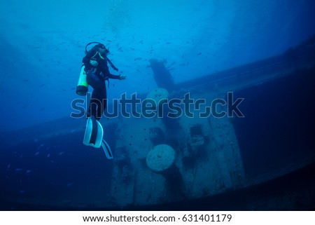 Aqaba, Jordan - February 27, 2017: Different Images of the Ship wreck 'Cedar Pride' located at the southern beach of Aqaba, Jordan. Images were captured in different dives and times.