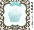 Aqua and brown leopard print background with a framed faded cupcake and bow detail. Super cute birthday party invitation for any age! - stock vector