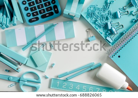 Aqua Blue Office Supplies Sitting On White Background Ready For Design