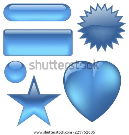 Aqua Buttons - Colored Illustration - stock photo