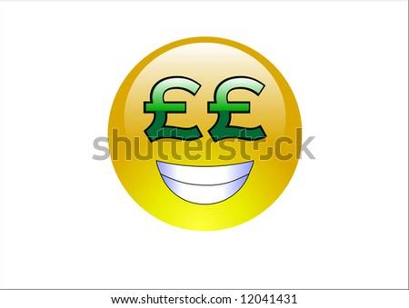 Aqua Emoticons - Money Pound Signs - stock photo