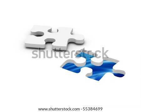 Aqua jigsaw puzzle. Part of puzzle with water in hole. High quality 3d render.