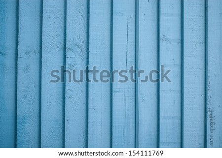 Aqua painted wooden fence detail - stock photo