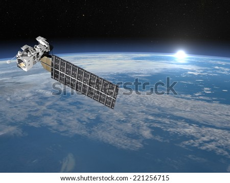 Aqua satellite in space upon earth and rising sun, elements of this image furnished by NASA - 3D render - stock photo