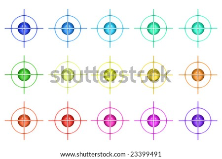 Aqua snipers in different colors over white background - stock photo