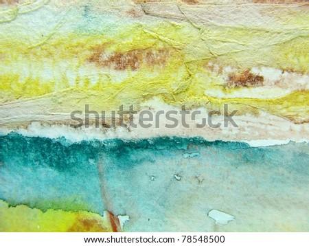 Aqua & Yellow Watercolor Textures - stock photo