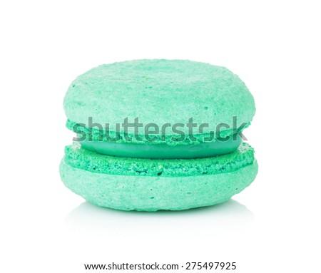 Aquamarine color macaron. Isolated on white background - stock photo