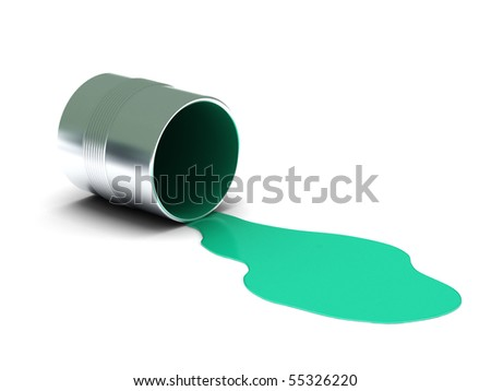 Aquamarine spilled paint isolated on white background. High quality 3d render. - stock photo