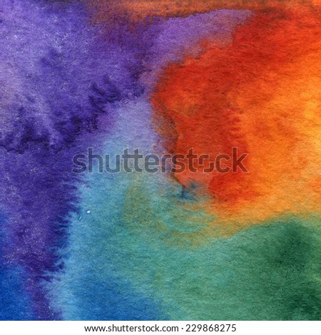 Aquarelle abstract watercolor background. Colorful handmade technique aquarelle. - stock photo
