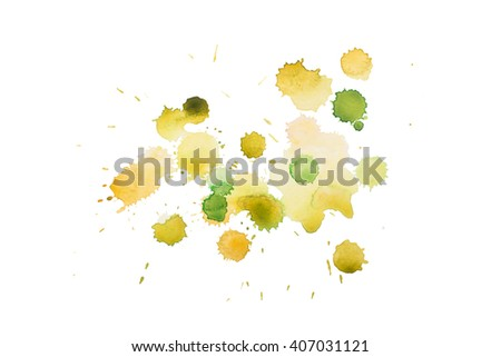 aquarelle yellow green wet splash, watercolor drop on white paper