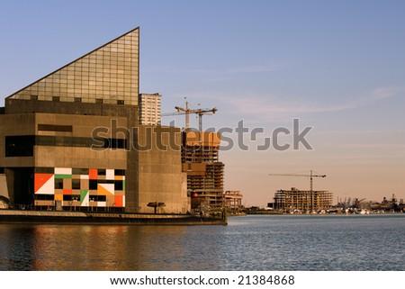 Aquarium building at sunset in Baltimore Inner Harbor - stock photo