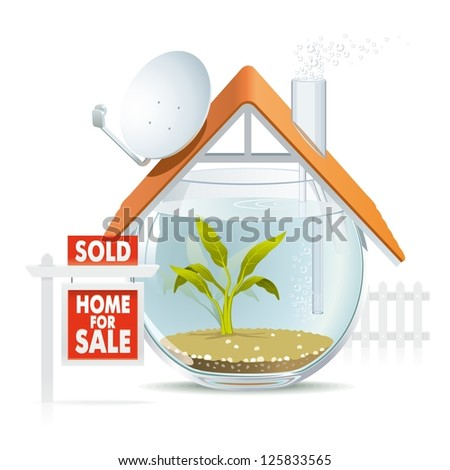 Aquarium home sold. Illustration of funny home as cozy aquarium for fish to be sold. - stock photo