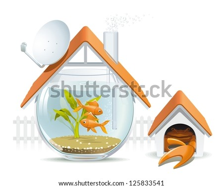 Aquarium home with a guard. Illustration of an apartment building in the form of an aquarium with fish and crab instead of a dog in a kennel. - stock photo