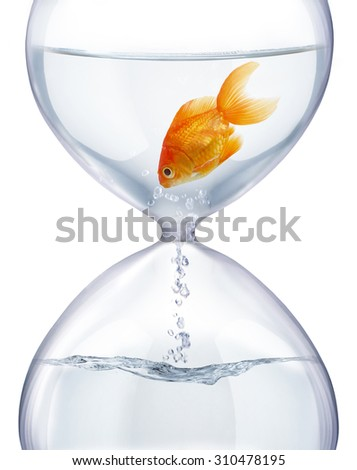 Aquarium hourglass. It symbolizes the transience of time and changes in life. - stock photo
