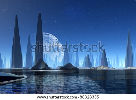 Aquarius part 3, fantasy or alien planet with modern structures of buildings and towers - stock photo