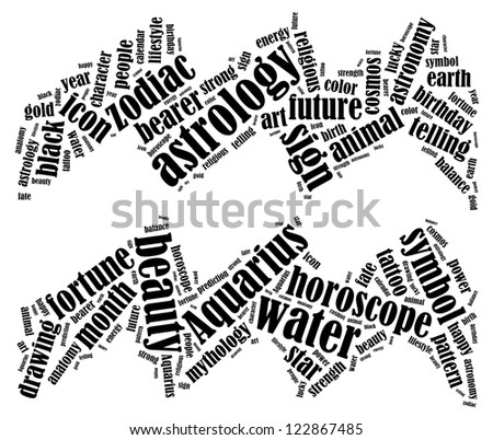 Aquarius zodiac info-text graphics composed in Aquarius zodiac sign shape on white background - stock photo
