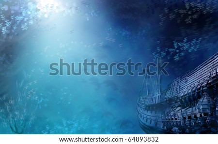 Aquatic Marine Seascape with shipwreck and fish in deep blue water. Shipwreck photo is of the Vasa from Stockholm. - stock photo