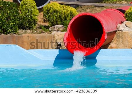Aquatic slide. - stock photo