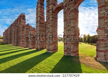 Aqueduct Los Milagros, Merida, Spain - stock photo