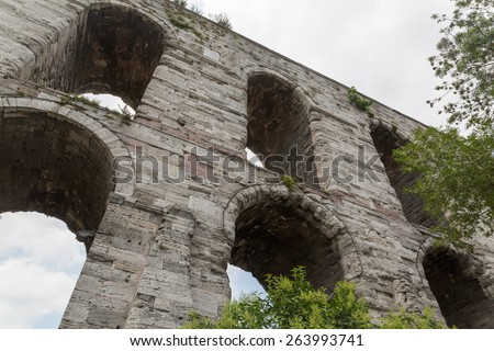 Aqueduct of Valens in Istanbul, Turkey. - stock photo