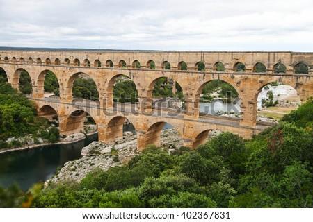 Aqueduct Pont du Gard,the bridge on river Gardon, Provence, France - stock photo