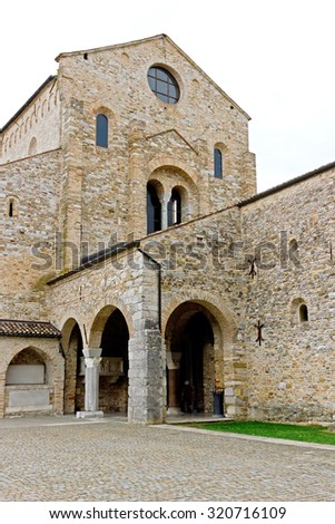 Aquileia, ITALY - 23 September 2015: The basilica in aquileia is a UNESCO World Heritage site. The mosaics on the floor inside the basilica date back to the 4th century.