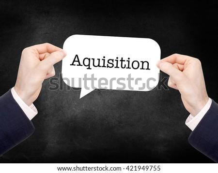 Aquisition written on a speechbubble - stock photo