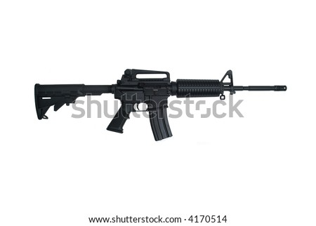 AR-15 Assault rifle with iron sights isolated on white - stock photo