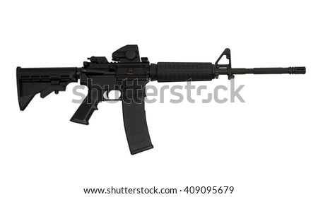 AR15 M4A1 Style Weapon USA Combat Automatic Rifle isolated on white photograph concept freedom patriotism - stock photo