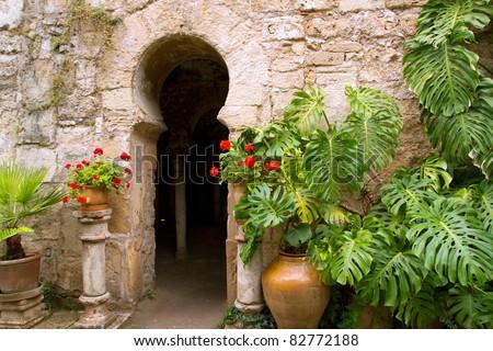 Arab baths in Majorca old city of Barrio Calatrava Los Patios at Palma de Mallorca - stock photo