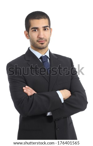 Arab business confident man posing with folded arms isolated on a white background - stock photo