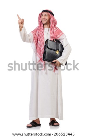 Arab businessman  with briefcase  pressing virtual buttons isolated on white - stock photo