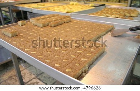 arab cakes on tray on display in market
