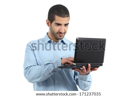 Arab casual man browsing a laptop social media isolated on a white background - stock photo