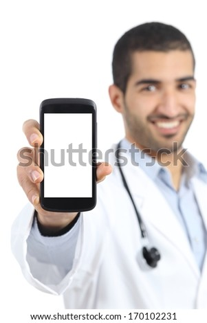 Arab doctor man showing a smart phone display application isolated on a white background - stock photo
