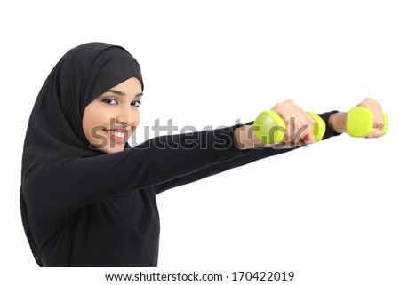 Arab fitness woman practicing sport doing weights isolated on a white background              - stock photo