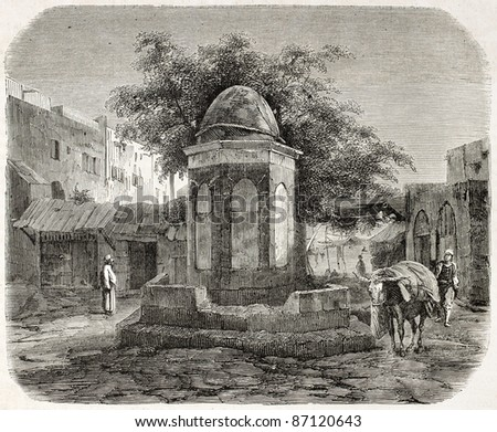 Arab fountain in the wheat market square, Beirut. By unidentified author, published on L'Illustration, Journal Universel, Paris, 1860 - stock photo
