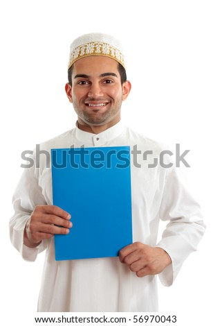 Arab italian mixed race business man holding a brochure or document.  Bohra men wear a traditional white three piece outfit, plus a white and gold cap called a topi.  White background. - stock photo