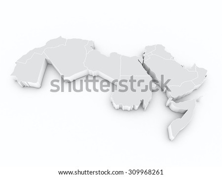 arab league 3D map - stock photo