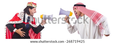 Arab man and king are shouting through loudspeaker isolated - stock photo