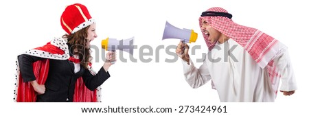 Arab man and queen are shouting through loudspeakers isolated on white - stock photo