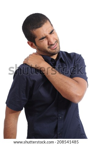 Arab man complaints with shoulder ache isolated on a white background - stock photo